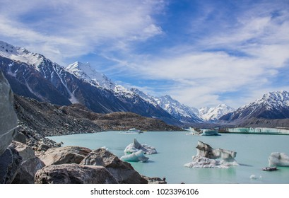 Tasman glacier and lake with massive pieces of melting ice, Mt Cook / Aoraki National Park, New Zealand