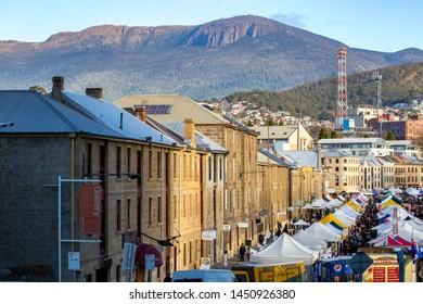 Tasmania, Australia, 25 July 2015 : Salamanca Market in Hobart city