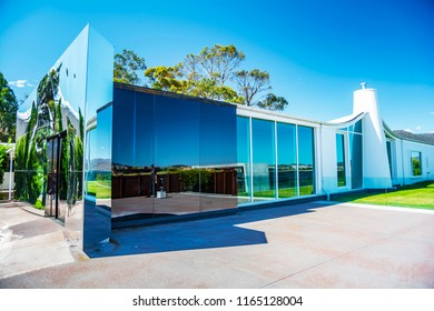 TASMANIA, AUSTRALIA - DEC 24, 2014 : The Museum of Old and New Art (MONA) is an art museum located within the Moorilla winery on the Berriedale peninsula in Hobart, Tasmania.