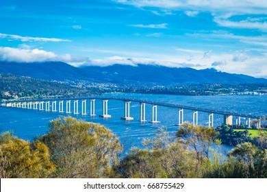 Tasmania bridge Hobart on blue sky