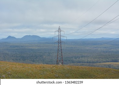 TASMANIA - MAR 27 2019: Hydro-electricity power line.Tasmania is the leader of renewable energy generation in Australia