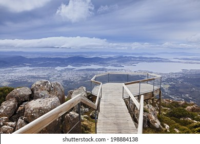 tasmania Mt Wellington equipped lookout for tourists to overlook Hobart Derwent River and the city day time