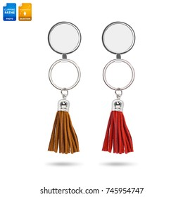 2468e15c87c1 Tassel key ring isolated on white background. Fashion leather key chain for  decoration. Clipping
