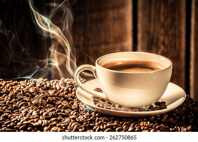 Taste coffee cup with roasted grains