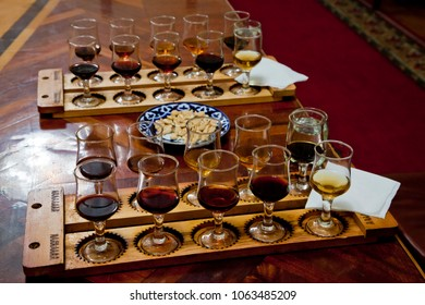 Tasting different types of wines.