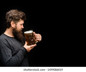 Tasting fresh brewed beer. Oktoberfest festival. Brewery concept. Brewer holds glass with craft beer. Man with beer of mug. Alcohol. Male brewer holds glass with beer. Oktober fest. Barman. Brewer.