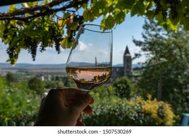 Tasting a glass of rose wine in Zsambek, Hungary which is part of the Etyek Wine Region. In the background there is the old monastery church ruin.