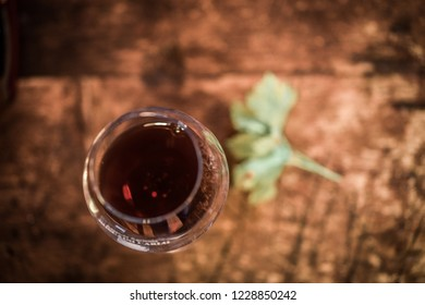 tasting of a glass of Valpolicella amarone