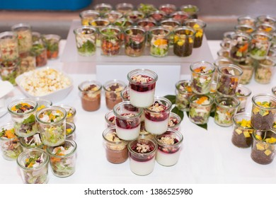 tasty appetizer catering buffet with choice of different dishes