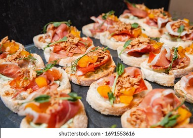 Tasty appetizer, modern catering kitchen, delicious snack