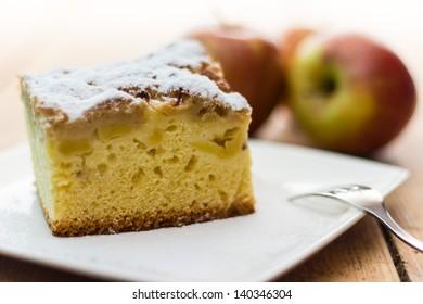 A tasty apple cake on the table