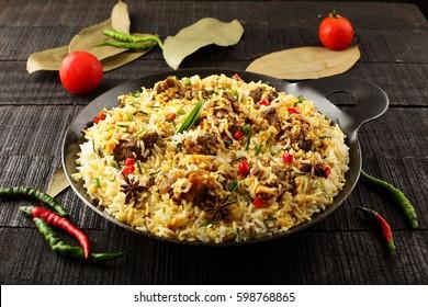 Tasty and aromatic  mutton or lamb biriyani with basmati rice,