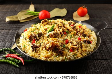 Tasty and aromatic  mutton or lamb biriyani with basmati rice,