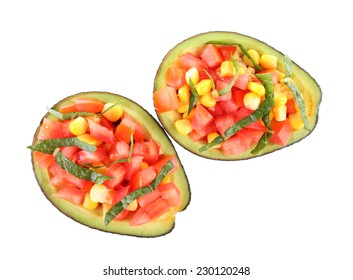 Tasty avocado salad isolated on white