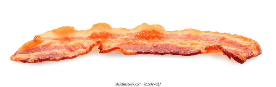 Tasty bacon slice, isolated on white
