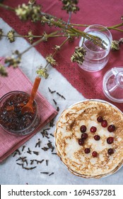 Tasty and beautiful breakfast with pancakes and jam - Shutterstock ID 1694537281