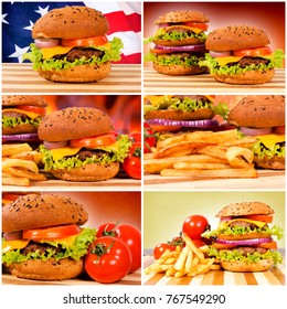Tasty and big American burgers.