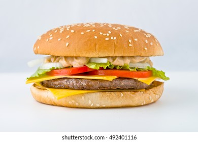 tasty big Burger with vegetables cheese and meat