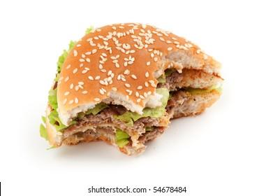 Tasty big hamburger isolated on white background