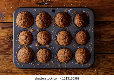 tasty bran muffins in a try straight out of the oven and ready to eat