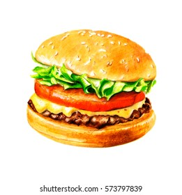 tasty burger / hand drawn markers / isolated on white background