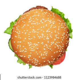 tasty burger isolated on white background. Clipping path included. Top view