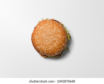 Tasty burger on white background.