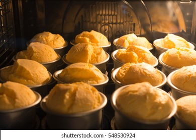 tasty cakes baking in the oven
