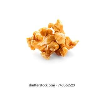 Tasty caramel popcorn on white background