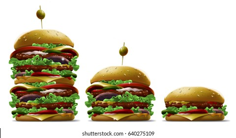 Tasty cartoon different burgers with olive and sesame on white background illustration set