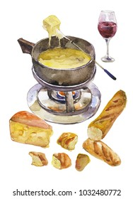tasty cheese fondue with glass of red wine and french bread