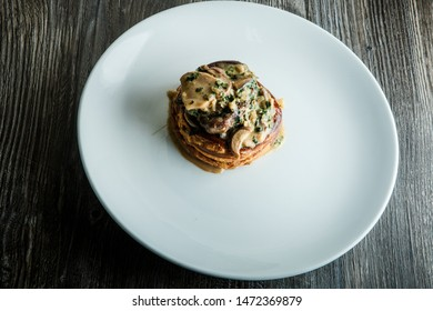 tasty chicken julienne with mushrooms and creamy sauce