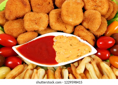tasty chicken nuggets and french fries fast food