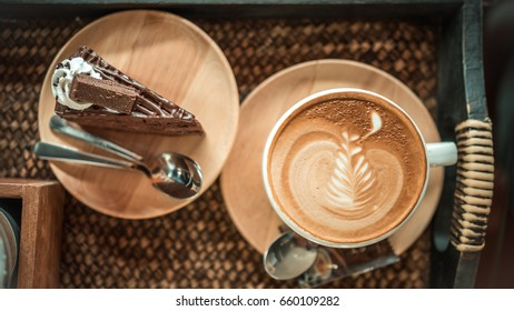 Tasty Chocolate Cake And Hot Cappuccino Coffee