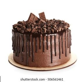 Tasty chocolate cake isolated on white