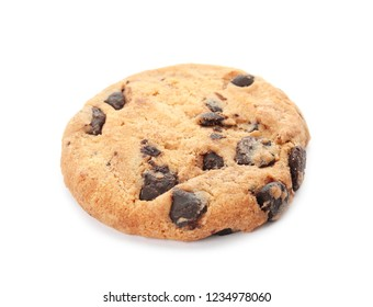 Tasty chocolate chip cookie on white background