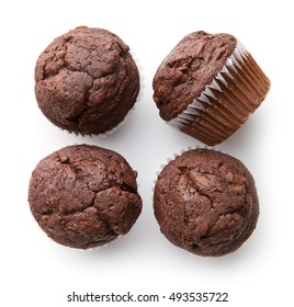 The tasty chocolate muffins isolated on white background.