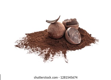 Tasty chocolate truffles with cacao powder on white background