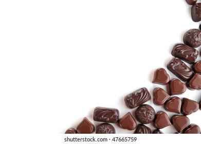 Tasty chocolates isolated on  white