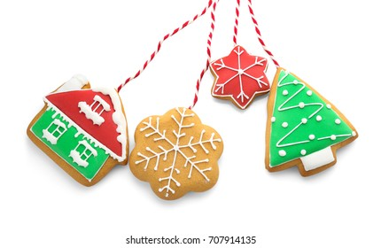 Tasty Christmas homemade cookies on white background