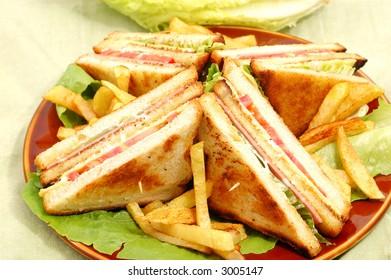 tasty club sandwich close up shot