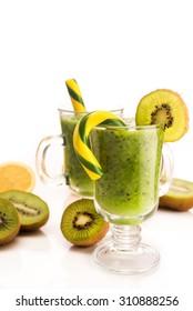 Tasty cocktail with kiwi fruit isolated on white background