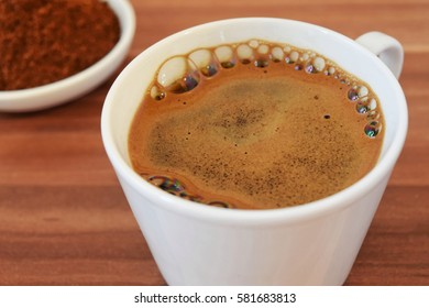 tasty coffee in white cup