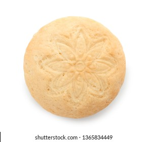 Tasty cookie for Islamic holidays on white background, top view. Eid mubarak