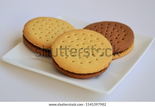 tasty cookies on a white plate