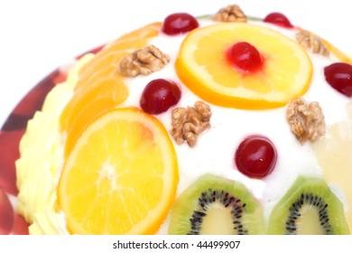 Tasty cream fruit cake isolated