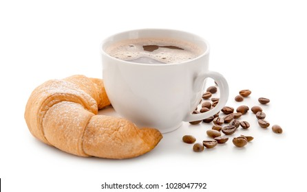 Tasty crescent roll with cup of coffee on white background