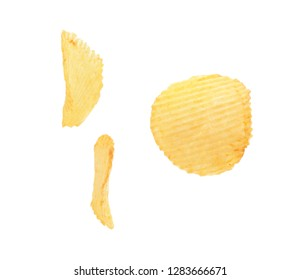 Tasty crispy potato chips on white background