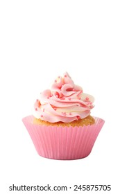 Tasty cupcake isolated on white