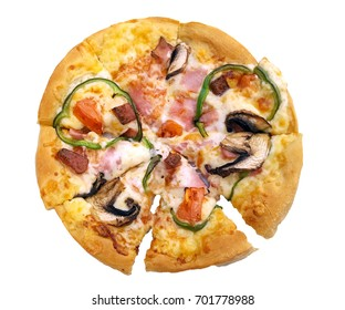 Tasty delicious pizza on white background